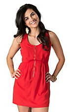 Dex Women's Bright Red Orange Mesh Back and Zipper Front Sleeveless Dress