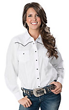 Cumberland Outfitters® Ladies White with Black Piping Long Sleeve Western Retro Shirt - Plus