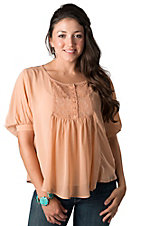 Collection Costa Blanca® Women's Peach Chiffon and Lace Blouse Fashion Top