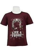 Cowboy Hardware® Boy's Maroon Live 4 Today Short Sleeve Tee