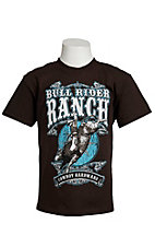 Cowboy Hardware® Boy's Chocolate w/ Turquoise & White Bull Rider Ranch Short Sleeve Tee