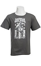 Cowboy Hardware® Boy's Charcoal w/ White American Bull Rider Design Short Sleeve Tee