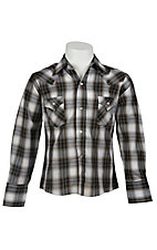 Ely Cattleman® L/S Charcoal & White Lurex Plaid Western Snap Shirt