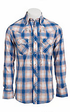 Ely 1878® Men's Blue & Orange Plaid L/S Western Shirt 33203310BL