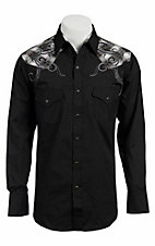 Ely 1878® Men's Black w/ Lurex Plaid Yokes L/S Western Shirt 33203312BK