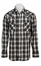 Ely 1878® Men's Black, Taupe & Grey Lurex Plaid Western Shirt 33203312PLD