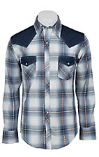Ely 1878 Men's Blue & White Plaid with Denim Yokes Western Shirt 33203330BL
