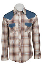 Ely 1878 Men's Tan & Blue Plaid with Denim Yokes Western Shirt 33203330TN