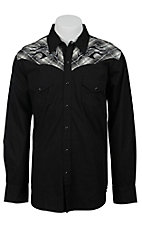 Ely 1878 Men's Black with Tribal Embroidered Plaid Western Shirt 33203331BK