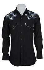 Ely 1878 Men's Black with Tribal Embroidered Plaid Western Shirt 33203938BK