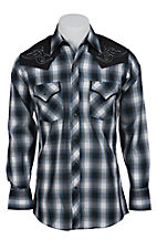 Ely 1878 Men's Blue Plaid with Tribal Embroidery Western Shirt  33203938PL