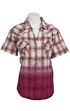 Cumberland Outfitters® Women's Brown and Pink Plaid Dip Dye Floral Overprint Short Sleeve Western Shirt - Plus Sizes