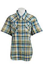 Cumberland Outfitters® Women's Blue and Yellow Plaid Short Sleeve Western Shirt - Plus Sizes