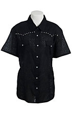 Cumberland Outfitters® Women's Black Leopard with Rhinestones Short Sleeve Burnout Western Shirt - Plus Sizes