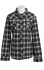 Cumberland Outfitters® Women's Black & White Lurex Plaid Long Sleeve Western Shirt - Plus Sizes