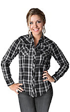 Cumberland Outfitters® Women's Black & White Plaid w/ Rhinestones & Lurex Long Sleeve Western Shirt