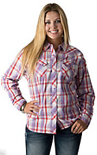 Cumberland Outfitters Women's Dusty Violet & Red Plaid Long Sleeve Western Shirt- Plus Sizes