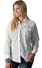 Cumberland Outfitters Women's White Leopard Print with Rhinestones Long Sleeve Western Shirt- Plus Sizes