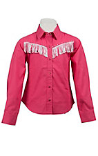 Cumberland Outfitters® Girl's Hot Pink w/ White Fringe Long Sleeve Western Shirt