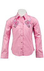 Cumberland Outfitters® Girl's Pink w/ Swirl Cross Long Sleeve Western Shirt