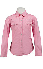 Cumberland Outfitters® Girl's Pink w/ White Piping Long Sleeve Western Shirt
