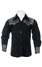 09 Apparel® Girls Black w/ Silver Sequins Long Sleeve Western Shirt
