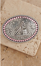 M&F Western Products® Pink Crystal Barrell Racer Childrens Buckle