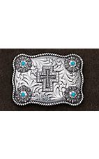 M&F Western Products® Silver Western Scroll with Crystal Cross & Conchos Scalloped Rectangle Buckle