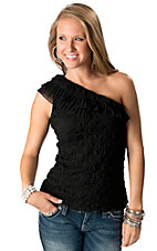 Young Essence® Women's Black One Shoulder Lace Fashion Top