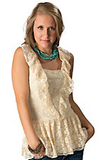Young Essence® Women's Beige Lace Sleeveless Fashion Top