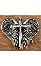 Nocona® Silver Winged Cross Belt Buckle