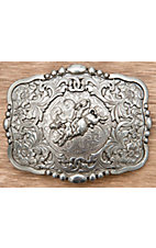 M&F Western Products® Silver Rectangle with Bull Rider Belt Buckle