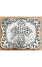 Nocona® Silver Cross Rectangle Belt Buckle 37910