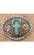 M&F Western Products® Silver and Gold with Turquoise Cross and Crystals Oval Buckle