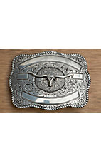 Crumrine Silver Longhorn Ribboned Rectangle Buckle