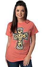 Cattilac Style Women's Coral Leopard and Chevron Short Sleeve Tee
