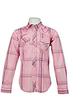 Cowgirl Hardware® Girl's Pink and Purple Plaid w/ Butterfly Embroidery Long Sleeve Western Shirt