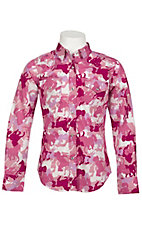 Cowgirl Hardware® Girl's Pink and Purple Horse Camo Long Sleeve Western Shirt