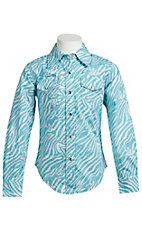 Cowgirl Hardware® Girl's Turquoise & White Zebra w/ Stud Hearts Long Sleeve Western Shirt
