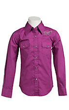 Cowgirl Hardware® Girls Magenta Pink with Silver Studded Horses Long Sleeve Western Shirt