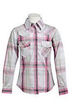 Cowgirl Hardware® Girl's Grey, Pink & White Plaid w/ Rhinestud Heart Long Sleeve Western Shirt