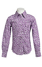 Cowgirl Hardware® Girl's Purple Cheetah Long Sleeve Western Shirt