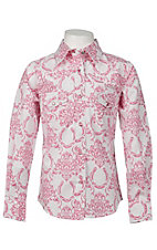Cowgirl Hardware® Girl's White w/ Pink Damask & Horseshoe Long Sleeve Western Shirt