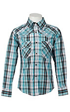 Cowgirl Hardware® Girl's Turquoise, Chocolate & White Plaid Long Sleeve Western Shirt