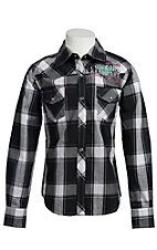 Cowgirl Hardware® Girl's Black & White Plaid Untamed Heart Long Sleeve Western Shirt