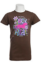 Cowgirl Hardware® Girls Brown with Horse Print & Just Ride S/S Tee