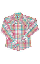 09 Apparel® Girls Pink and Tuquoise Plaid Long Sleeve Western Shirt