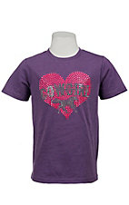Cowgirl Hardware® Girls Purple w/ Neon Pink Crystal Logo Heart S/S Tee