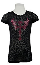 Cowgirl Hardware® Girls Black w/ Pink Stud Winged Cross S/S Burnout Tee