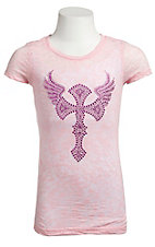 Cowgirl Hardware® Girls Light Pink with Multi Pink Stud Winged Cross Short Sleeve Burnout Tee